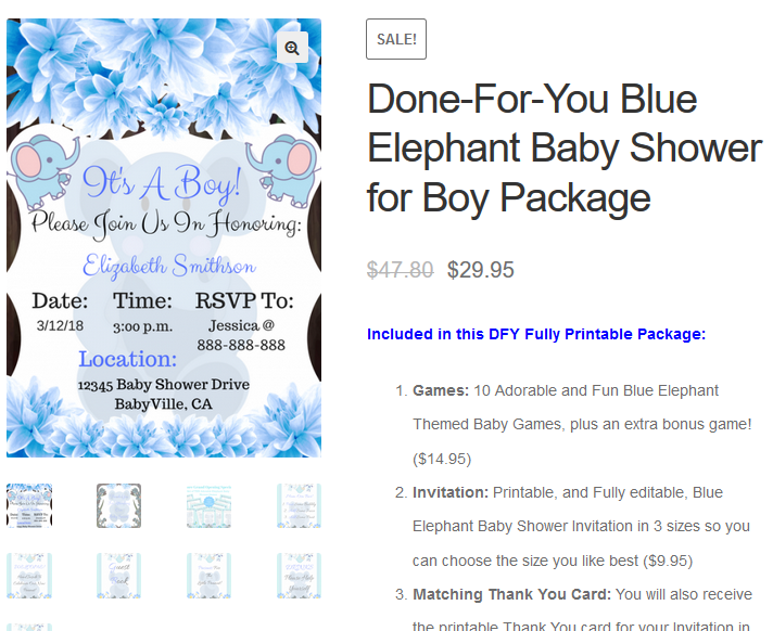 Done For You Blue Elephant Baby Shower Set