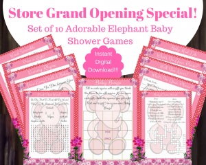 printable pink elephant baby shower games with answers For Girl