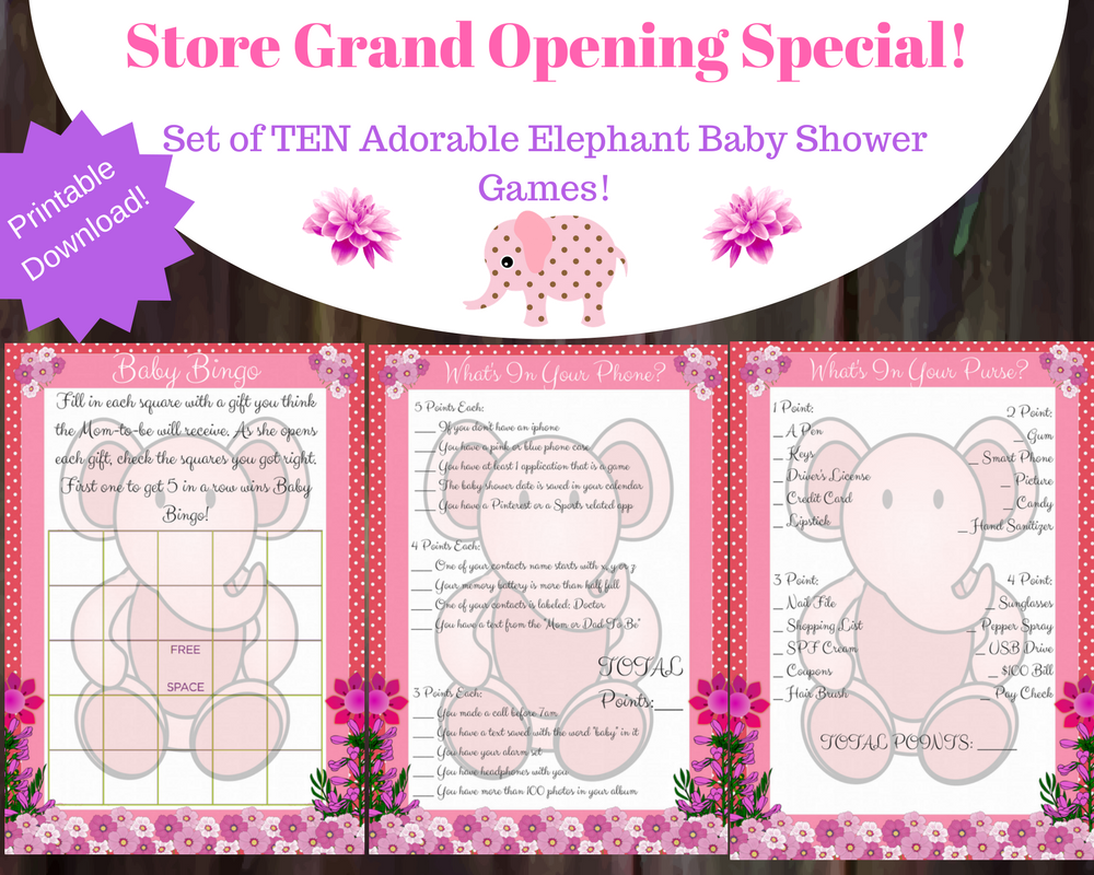 10 Cute Elephant Baby Shower Games For A Girl
