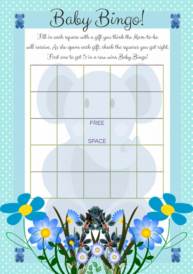 Printable Baby Shower Bingo Game Elephant Theme