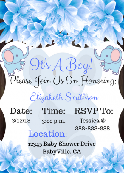 Blue Elephant Baby Shower Invitation for boy image