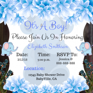 Blue Elephant Baby Invitation #2
