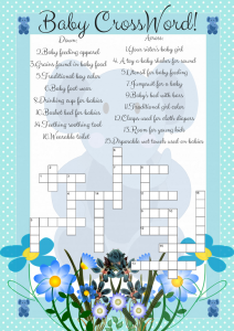 Blue Elephant Crossword Game Printable