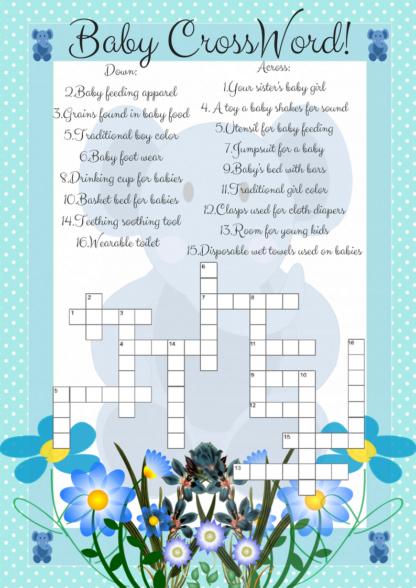 Blue Elephant Crossword Game Printable