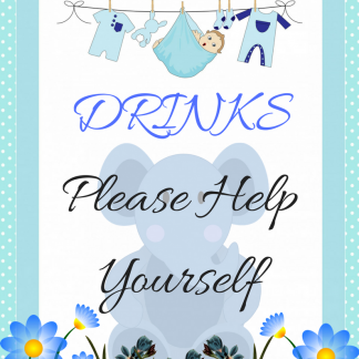 Blue Elephant Drink Please help Yourself Decorative Sign
