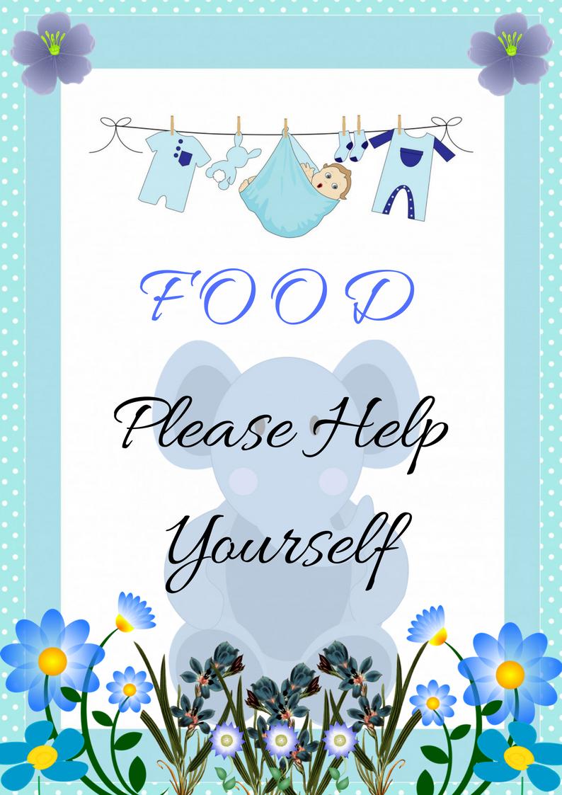 Blue Elephant Baby Shower Food Decoration Sign