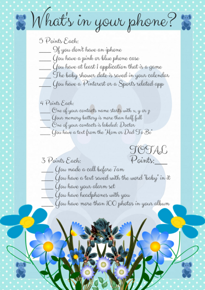Blue Elephant Whats In Your Phone Printable Game