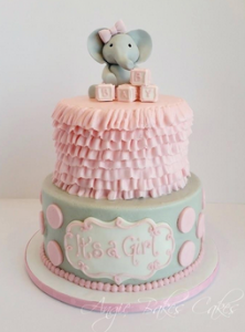 Elephant Baby Shower Cake Idea Image