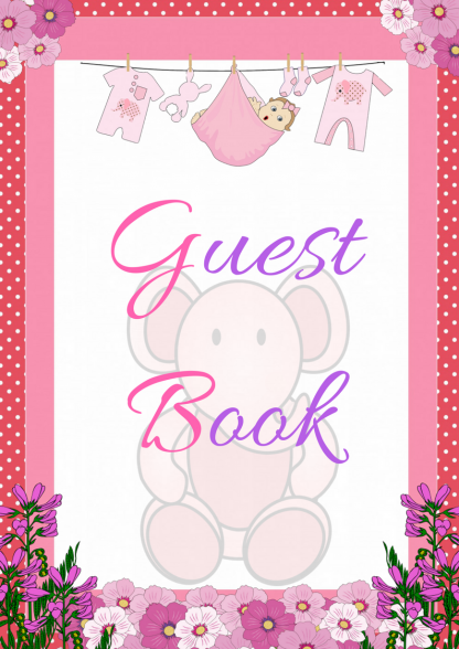 Pink Ele Guest Book Sign