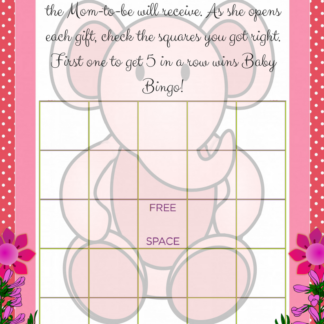 printable pink elephant baby shower bingo game