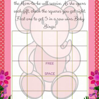 Pink Elephant Baby Bingo