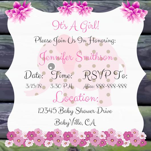 Elephant baby shower invitation for girl style 1 pink elephant baby shower invitation for girl style 1 filmwisefo