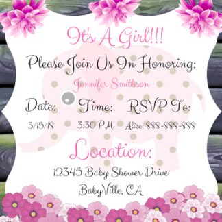 Pink Elephant Baby Shower Invitation For Girl Style 1