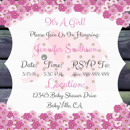 Elephant baby shower invitation for girl style 3 pink elephant baby shower invitation for girl 3 pink filmwisefo