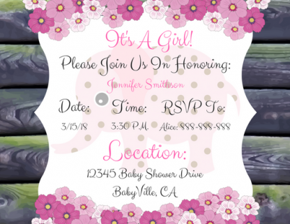Pink Elephant Baby Shower Invitation #3 Image