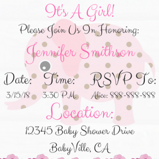 Pink Elephant Baby Shower Invitation For Girl #3