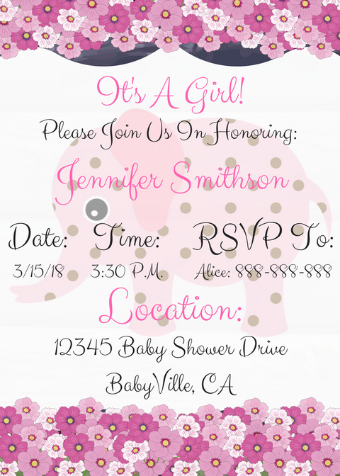 Elephant Baby Shower Invitation For Girl Style 3