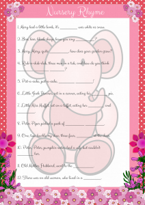 Printable Pink Elephant Nursery Rhyme Game