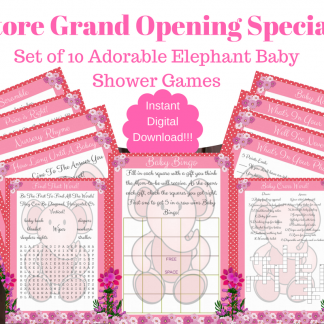 10 Pink Elephant Baby Shower Games For Girl
