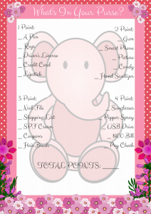 Pink Elephant What's In your Purse Printable Game