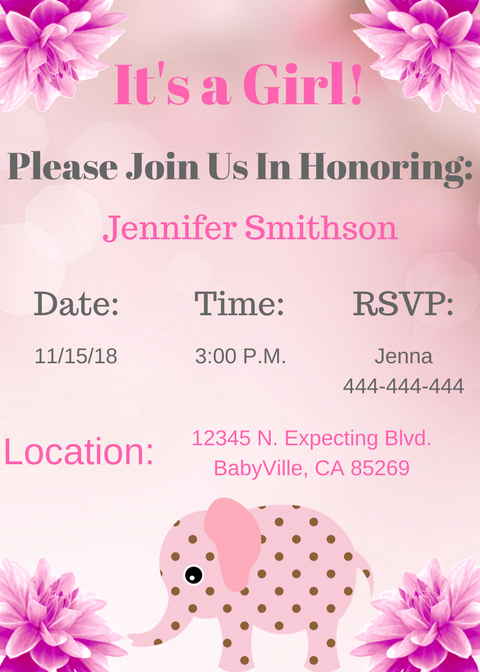 Elephant Baby Shower Invitation For Girl Style 2