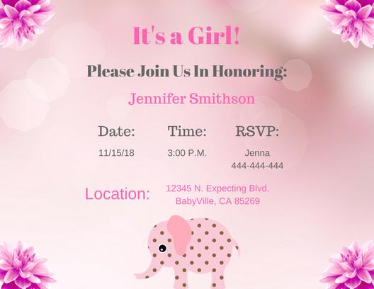 Elephant baby shower invitation for girl style 2 pink elephant baby shower invitation filmwisefo