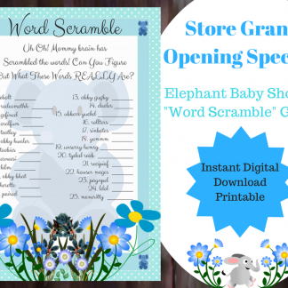 Blue Elephant Word Scramble Printable Game